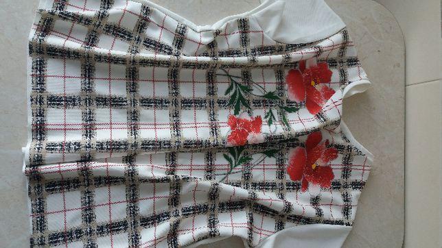 Biała w kwiaty bluzka tunika koszula Zara L XL 2XL 3XL