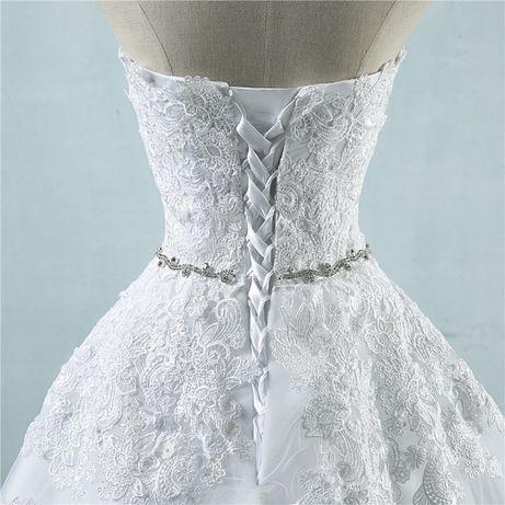 suknia ślubna wesele koronka tren ozdobny pasek wiązanie 38 M