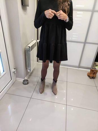 Nowa czarna sukienka w falbany