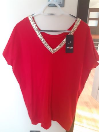 czerwona bluzka z cekinami xxl