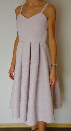 Sukienka ASOS liliowa midi, idealna na wesele, chrzciny, komunie