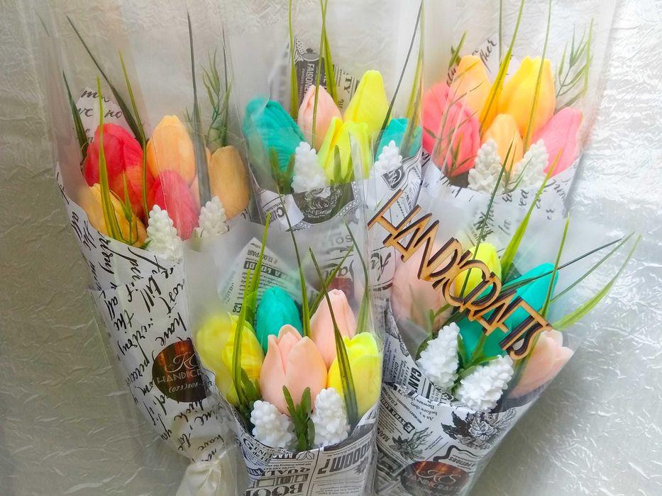 Букет тюльпанов. Подарок. Цветы из мыла. Ручной подарочный букет. Запорожье - изображение 1
