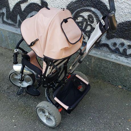 Велосипед с родительской ручкой Эко-кожа