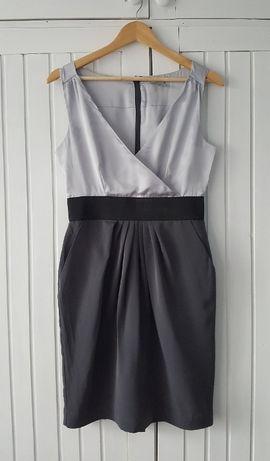 Elegancka Satynowa Sukienka Odcienie Szarości, H&M