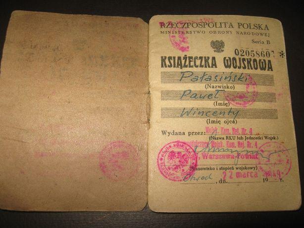 Książeczka wojskowa 1949r. WP LWP Rzeczpospolita Polska ładny stan