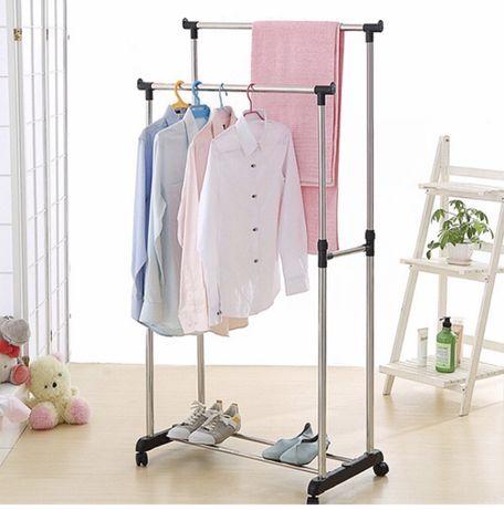 Телескопическая стойка-вешалка Double Pole для одежды и обуви двойная