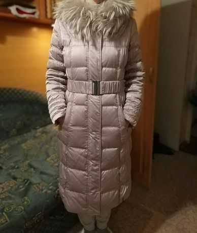 Пуховик куртка зима розовый мех