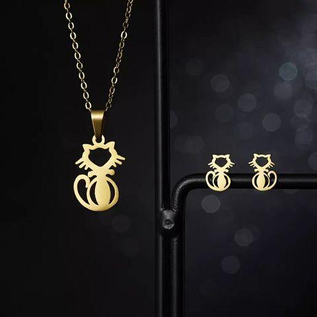 Uroczy Złoty Zestaw Biżuterii Łańcuszek Zawieszka Kolczyki