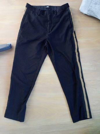 Spodnie h&m s m 36 38 lampas czarne wełna