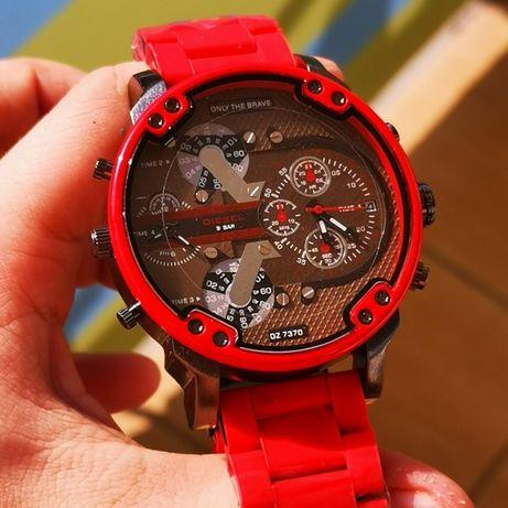 Zegarek DIESEL - duży, ciężki -100% nowy, czerwona GUMOWANA bransoleta