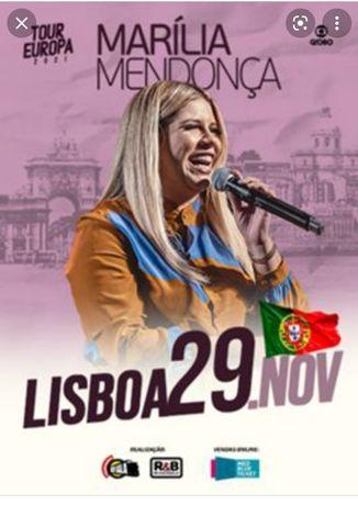 2 Bilhetes para concerto Marília Mendonça- 29 de Novembro- Lisboa