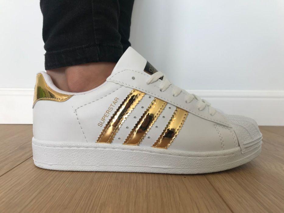 Adidas Superstar. Rozmiar 41. Białe - Złote paski. Super cena! Udryn - image 1