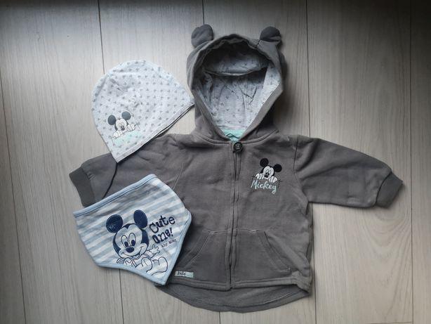 Bluza, czapka, apaszka Myszka Mickey r. 74