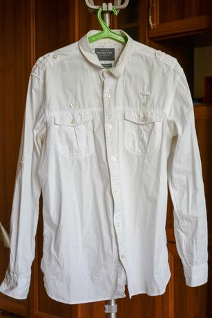 Koszula biała z ozdobnymi wstawkami podpinane rękawy Reserved Rozm. M