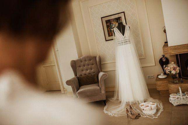 Suknia ślubna + tiul + welon
