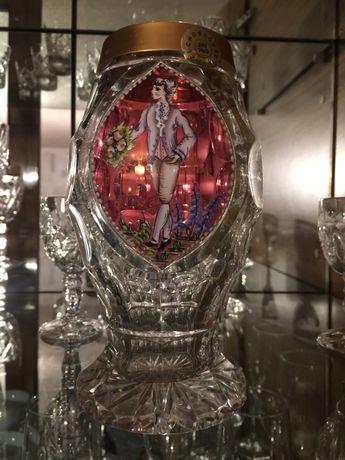Хрустальная ваза ручная  роспись