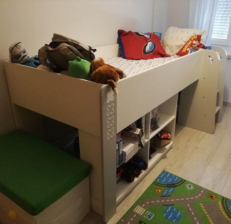 Cama Criança 90x200 - com escada e secretária e colchão