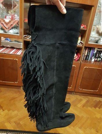 Сапоги ботфорти чоботи minnetonka 37 натуральная замш бохо бахрома