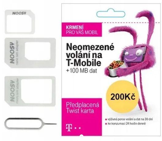 Karta sim bez rejestracji Czeska + doładowanie 200 + adapter ANONIMOWA