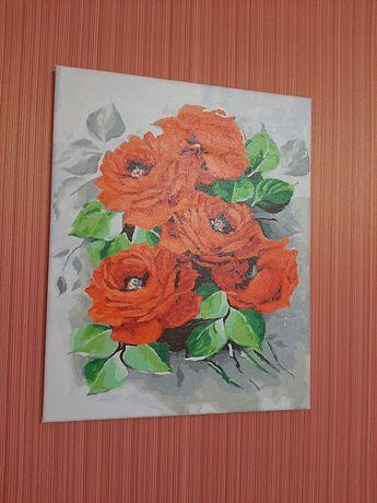 Картина цветы розы акрил 50×40. Новая!