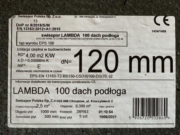 27,5m2 12 cm Grafitowy Styropian Swisspor LAMBDA 100 dach podłoga 0,30