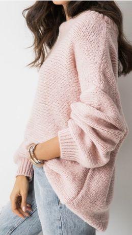 Sweter pudowy róż oversise