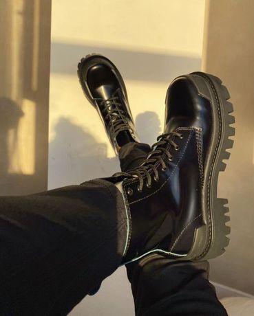 Демисезонные ботинки BALENCIAGA BOOST чёрные ∎ Лучшее качество ∎ Кожа