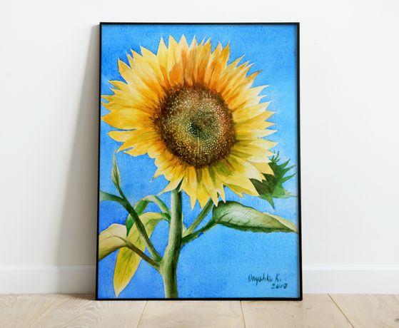 Яркая интерьреная картина Подсолнух на солнце - ручная работа акварель