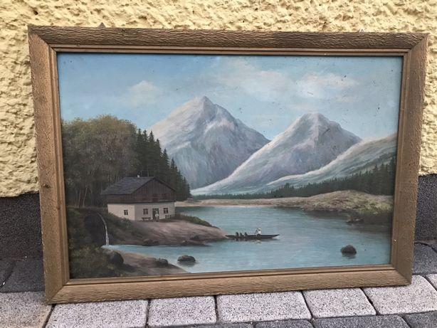 Obraz Krajobraz malowany w ramie ok 1960r obraz