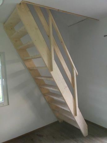 schody drewniane na wymiar młynarskie z podestem budowlane