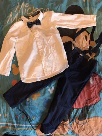 Komplet koszula spodnie i muszka 104 H&m