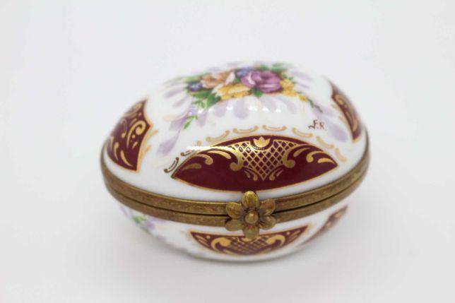 Richelieu Limoges Caixa Ovo Porcelana e Metal Floral e fer-rouge Ouro