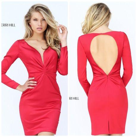 Платье атласное красное Sherri Hill выпускной р.S открытая спина новое