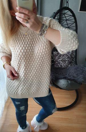 Sweterek ecru h&m s/m
