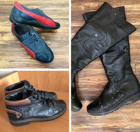 Кожаные ботинки мокасины зимние сапоги пакет кожаной обуви 36-37 разм