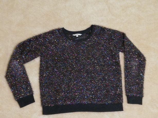 Clockhouse bluza / sweter czarny kolorowe błyszczące nitki rozm. S