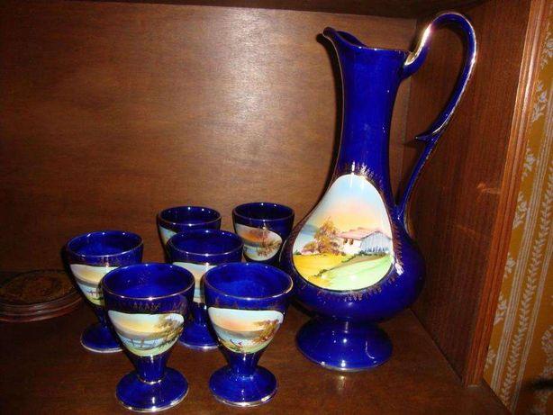 Jarro e copos cerâmica vidrada Tremez, numerada - coleção antiguidades