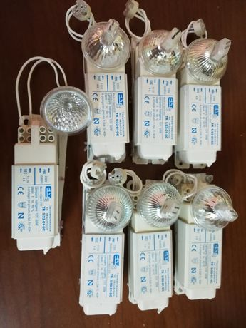 Transformadores c/ suporte e lâmpadas alogéneo