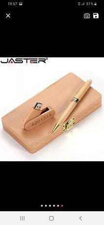 Caixa madeira nova + caneta e pen usb 16GB