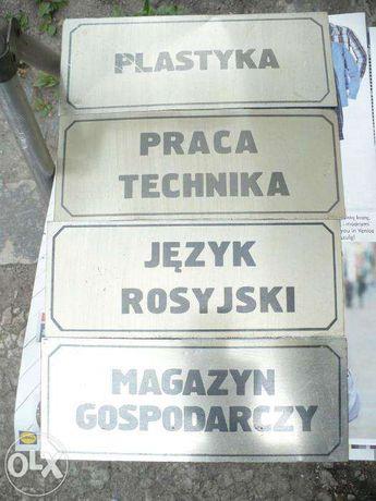 1 tabliczka plastyka gabinet prl, szkoła rosyjski tanio