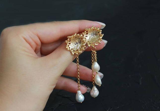 Подарок девушке женщине жене серьги позолоченные серебро длинные