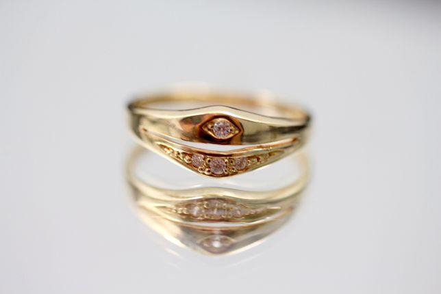 Piękny złoty pierścionek CYRKONIA 585 1,59G R10
