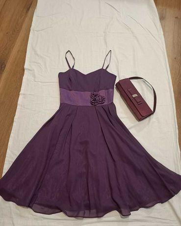 Fioletowa wizytowa sukienka idealna na wesele, torebka gratis
