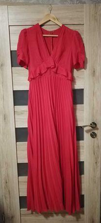 Czerwona plisowana sukienka Asos