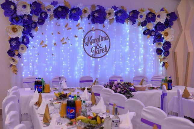 dekoracja sali papierowe kwiaty