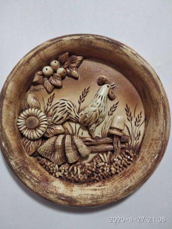 Тарілка декоративна на стіну кераміка, ліпка, тарелка декоративная