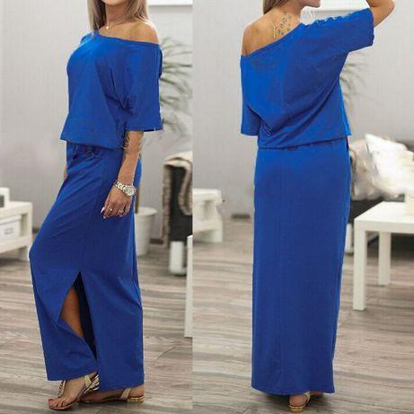 vestido de comprido novo azul aberto