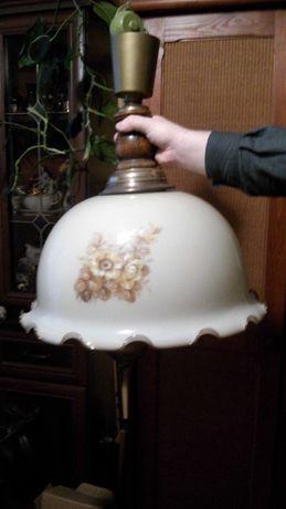 Lampa wisząca z kloszem porcelanowym antyk