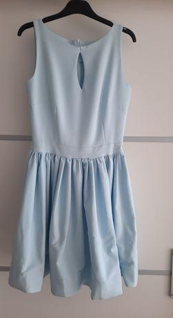 NOWA sukienka błękitna rozkloszowana zamek wesele impreza