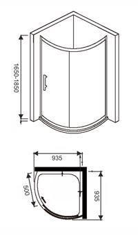 profile do kabiny prysznicowej AquaSan półokrągłej na brodzik 93x93 93